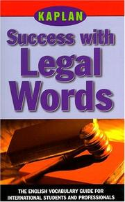 Cover of: Kaplan Success with Legal Words | Kaplan Publishing