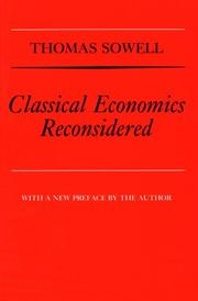 Cover of: Classical economics reconsidered. --