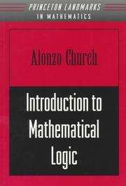 Cover of: Introduction to mathematical logic