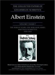 Cover of: The Collected Papers of Albert Einstein: Volume 7: The Berlin Years
