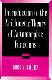 Cover of: Introduction to the arithmetic theory of automorphic functions