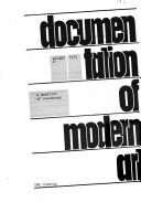 Cover of: Documentation of modern art |