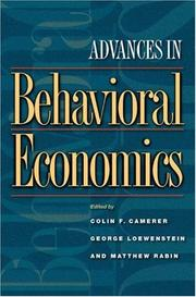 Cover of: Advances in behavioral economics |