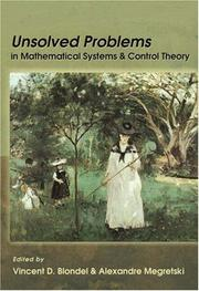Cover of: Unsolved problems in mathematical systems and control theory |