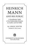 Cover of: Heinrich Mann and his public | Lorenz Winter