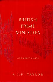 Cover of: British Prime Ministers and Other Essays (Allen Lane History)