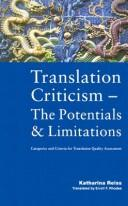 Cover of: Translation criticism, the potentials and limitations by Katharina Reiss