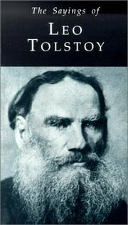 Cover of: Sayings of Leo Tolstoy | Richard Pearce