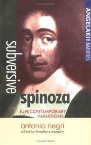 Cover of: Subversive Spinoza: (un)contemporary variations
