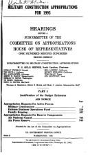 Cover of: Military construction appropriations for 1993