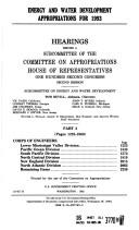 Cover of: Energy and water development appropriations for 1993: hearings before a subcommittee of the Committee on Appropriations, House of Representatives, One Hundred Second Congress, second session
