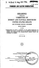 Cover of: Pomrehn and Easton nominations | United States. Congress. Senate. Committee on Energy and Natural Resources.