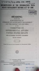 Cover of: Implementation of the Information Technology Management Reform Act of 1996