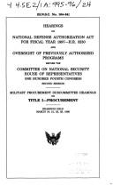 Cover of: Hearings on National Defense Authorization Act for fiscal year 1997--H.R. 3230 and oversight of previously authorized programs before the Committee on ..