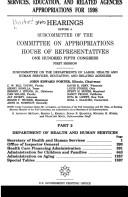 Cover of: Departments of Labor, Health and Human Services, Education, and related agencies appropriations for 1998: hearings before a subcommittee of the Committee on Appropriations, House of Representatives, One Hundred Fifth Congress, first session