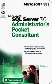 Cover of: Microsoft SQL Server 7.0 administrator's pocket consultant