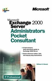 Cover of: Microsoft Exchange 2000 server: administrator's pocket consultant