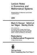 Cover of: Redundancy in Mathematical Programming
