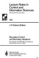 Cover of: Boundary Control and Boundary Variations