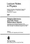 Cover of: Statistical mechanics and field theory