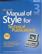 Cover of: Microsoft Manual of Style for Technical Publications Third Edition | Microsoft Corporation.