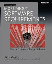 Cover of: More About Software Requirements | Karl E. Wiegers