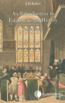 Cover of: An Introduction to English Legal History