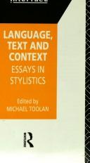 Cover of: Language, text and context |