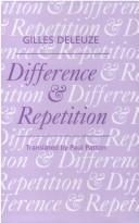 Cover of: Difference and Repetition (Athlone Contemporary European Thinkers)