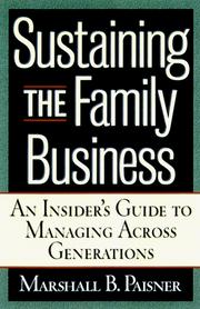 Cover of: Sustaining the family business