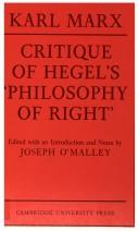 Cover of: Critique of Hegel