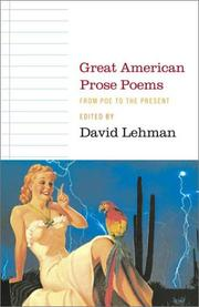 Cover of: Great American Prose Poems: From Poe to the Present