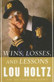 Cover of: Wins, Losses, and Lessons LP | Lou Holtz