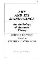 Cover of: Art and its significance