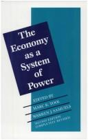 Cover of: The Economy as a system of power