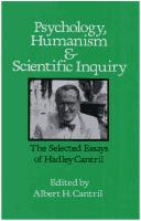 Cover of: Psychology, humanism, and scientific inquiry