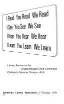 Cover of: I Read, You Read, We Read: I See, You See, We See : I Hear, You Hear, We Hear  | American Library Association