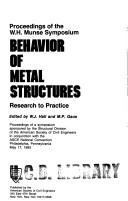 Cover of: Proceedings of the W.H. Munse Symposium: Behavior of Metal Structures