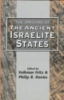 The Origins of the ancient Israelite states