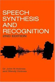 Cover of: Speech Synthesis and Recognition