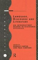 Cover of: Language, Discourse and Literature |