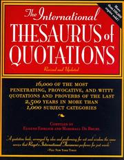 Cover of: The International Thesaurus of Quotations | Eugene H. Ehrlich