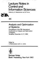 Cover of: Analysis and Optimization of Systems |