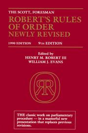 Cover of: Robert's Rules of Order Newly Revised (9th Edition) | Henry M. Robert, William Evans, Henry Robert, Sarah Corbin Robert