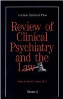 Cover of: Review of Clinical Psychiatry and the Law | Robert I. Simon