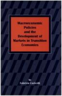 Cover of: Macroeconomic Policies and the Development of Markets in Transition Economics | Fabrizio Coricelli