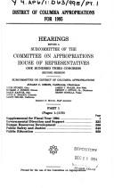 Cover of: District of Columbia appropriations for 1995: Hearings before a subcommittee of the Committee on Appropriations, House of Representatives, One Hundred Third Congress, second session