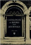 Cover of: Catalogue of Books and Journals, 1891-1965