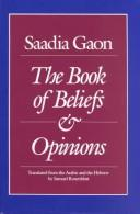 Cover of: The book of beliefs and opinions