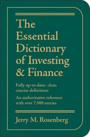 Cover of: The Essential Dictionary of Investing and Finance | Jerry M. Rosenberg